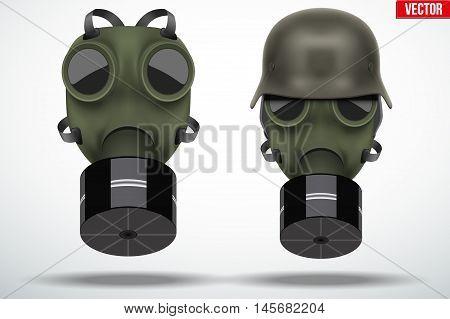 Set of retro gas mask and military helmet. Vintage grunge style. Editable Vector illustration Isolated on white background.
