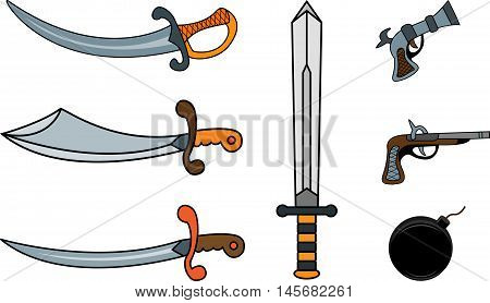 Set of pirate weapons: sabers and pistols