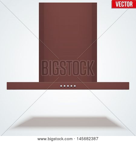 Kitchen range hood. Front view of Built in cooker hoods. Brass metal. Domestic equipment. Editable Vector illustration Isolated on white background.
