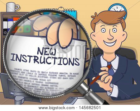 New Instructions on Paper in Man's Hand through Magnifying Glass to Illustrate a Business Concept. Colored Doodle Illustration.