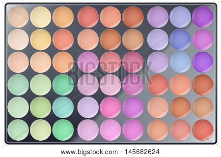 Big Palette of Make Up. All colors. For Beauty and cosmetics design. Editable Vector illustration Isolated on white background.