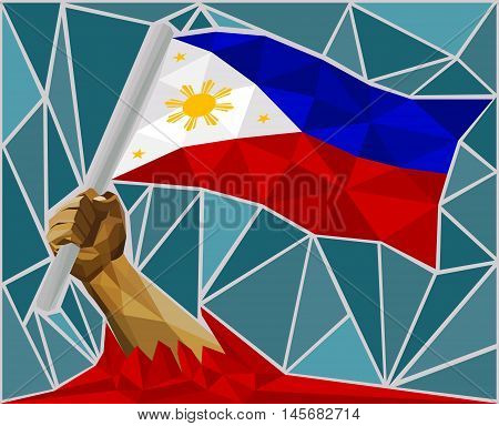 Arm Raising The National Flag Of Philippines