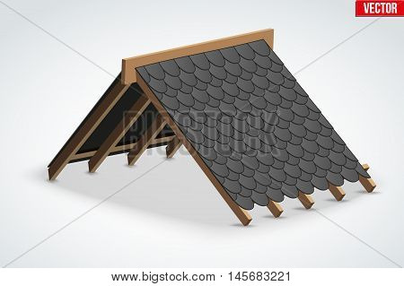 Icon of Roof with Icon of Roof with black shingles bitumen roofing cover. Industrial building design. Vector Illustration isolated on white background.