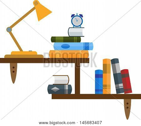 Abstract graphic wall bookshelf with various objects