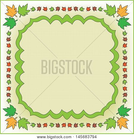 Autumn background with colorful green, orange and brown leaves