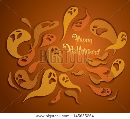 Happy Halloween. Spooky ghost greeting card.