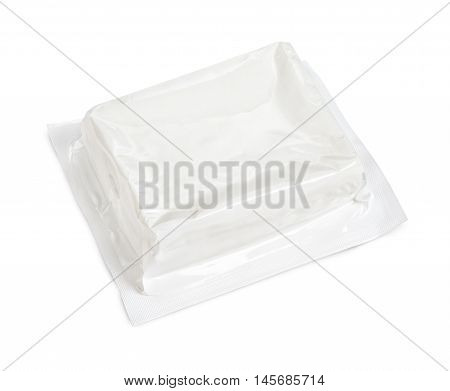 Block Of Vacuum Soft Wrap Box Package Isolated On White Background