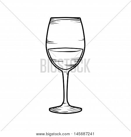 Contour doodle wineglass with wine isolated on white.