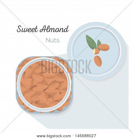 Sweet almonds in a glass jar, Vector illustration, flat lay.