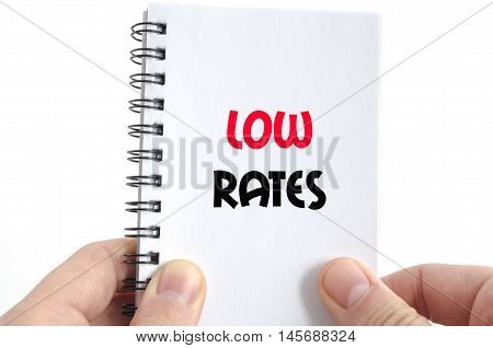 Low rates text concept isolated over white background