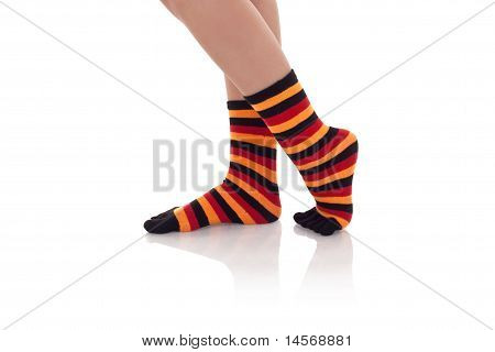 Woman Legs In Zebrine Socks