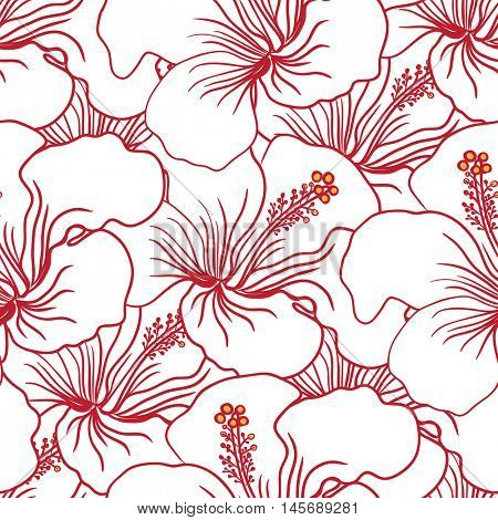 Red and White Hibiscus Seamless Pattern. Hawaiian Aloha Shirt Background