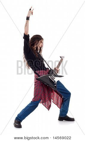Long Haired Is Making A Rock Hand Gesture