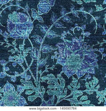 Vector Denim floral seamless pattern. Jeans background with fantasy flowers. Blue jeans cloth background