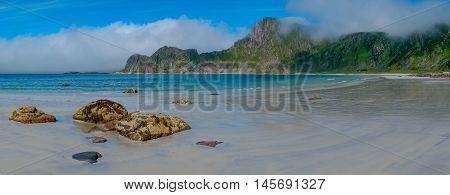 View to isolated Hoyvika beach in Norway, Lofoten islands