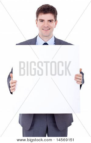 Business Man With Blank Board