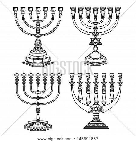 Jewish religious symbol menorah isolated on white background.