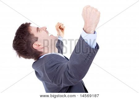Business Man Shouting Loudly