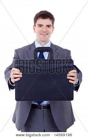 Business Man Offering A Black Briefcase