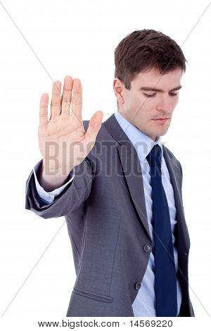 Entrepreneur Showing Stop Sign