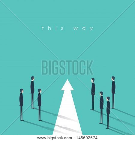 Teamwork and leadership business concept vector illustration. Symbol of decisiveness, right decision, planning, strategy and right direction. Eps10 vector illustration.