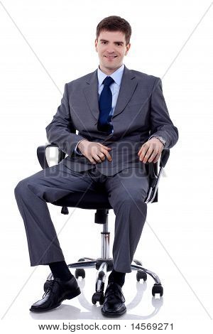 Business Man Seating On Chair