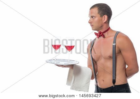 Horizontal Portrait Of The Waiter With Glasses Of The Wine Isolated