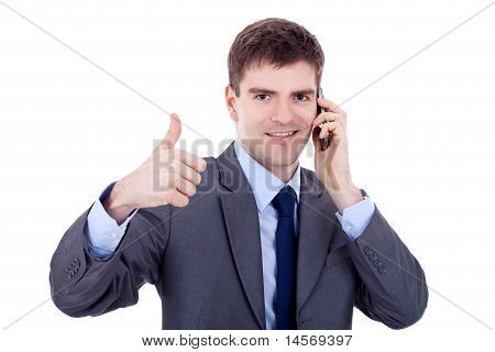 Corporate Man Being Positive On Phone