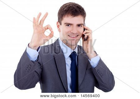 Business Man On The Phone Approving