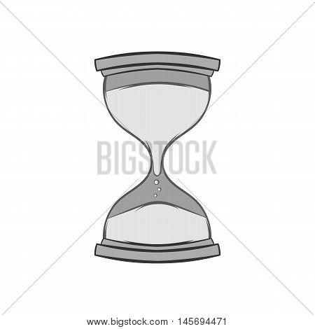 Hourglass icon in black monochrome style isolated on white background. Time symbol. Vector illustration