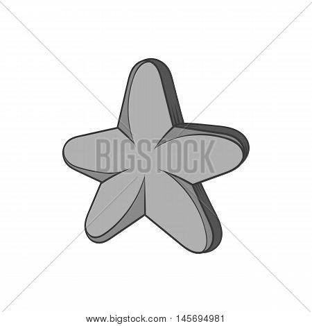 Five pointed star icon in black monochrome style isolated on white background. Figure symbol. Vector illustration