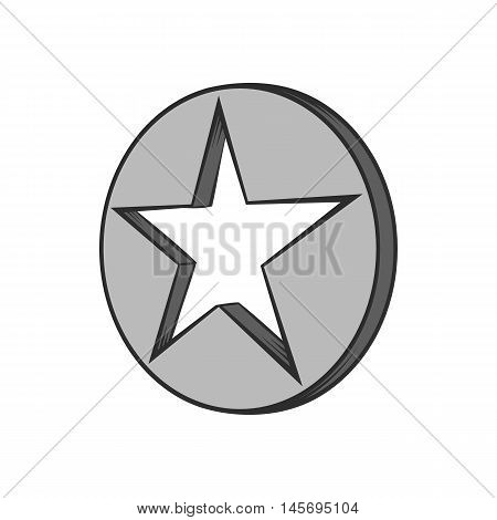 Star in circle icon in black monochrome style isolated on white background. Figure symbol. Vector illustration