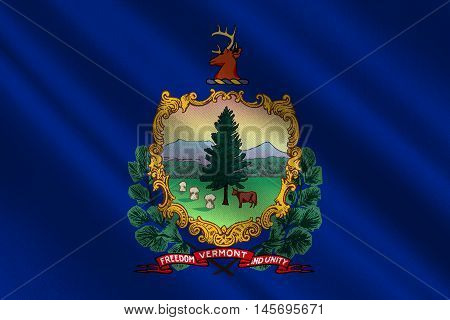 Flag of Vermont state USA. 3D illustration