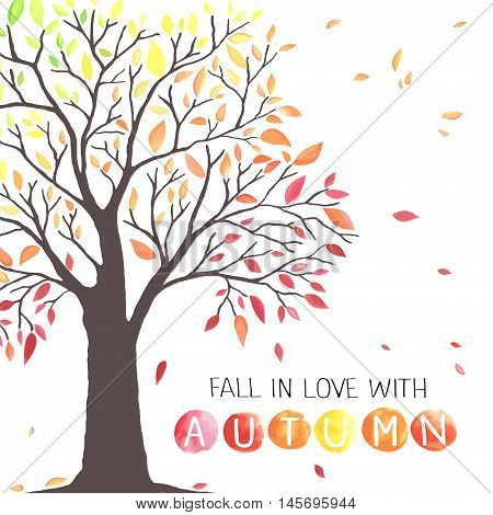 Autumn tree with falling down leaves. Watercolor imitation in vector. Each object is separately, easy to edit.