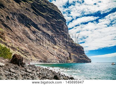 view of the Playa de Masca at the end of the popular Gorge walk Tenerife Canary islands Spain