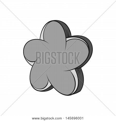 Star shaped flower icon in black monochrome style isolated on white background. Figure symbol. Vector illustration