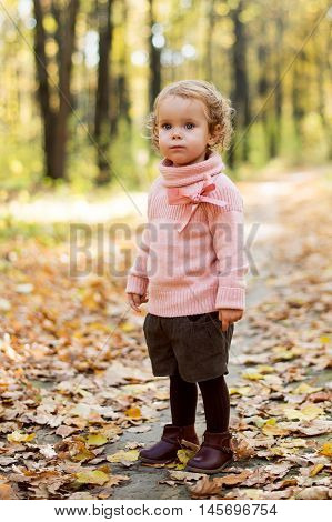 Curly little girl in the autumn forest