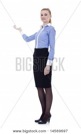 Business Woman Presenting Something