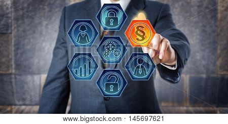 Male corporate governance officer is activating a legal section sign on a virtual control screen. Business concept for Governance Risk Management and Compliance short GRC and enterprise modeling.