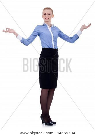 Miling Business Woman Welcoming