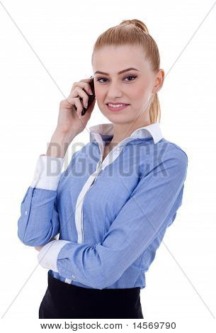 Smiling Successful Business Woman With Cell Phone