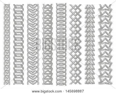 Geometrical border set. Chains made of impossible shapes. Line art. Vector illustration.