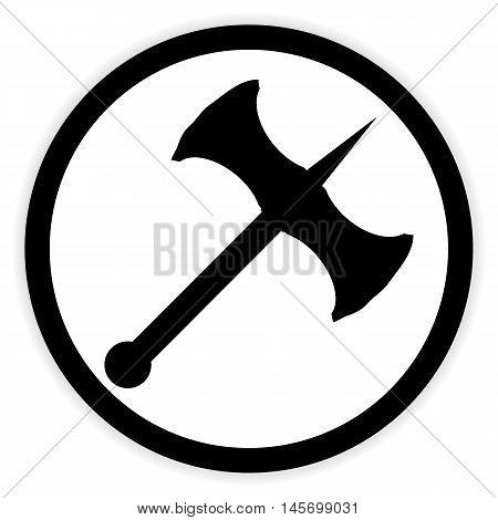 Battle axe button on white background. Vector illustration.