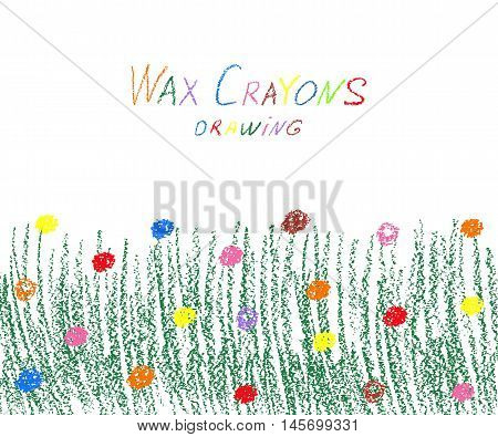 Wax crayon green grass with flowers. Vector illustration.