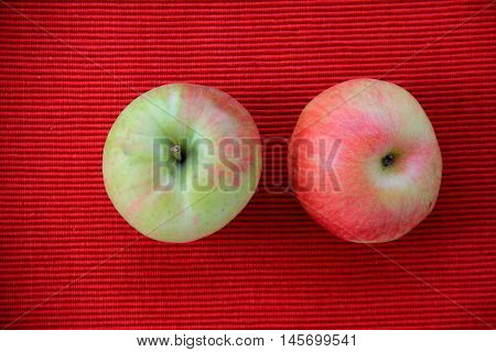 Two just picked apples on red background