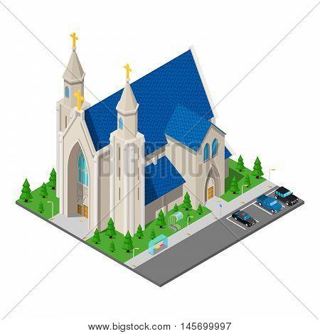 Isometric Christian Catholic Church Building. Vector illustration