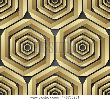 Geometric seamless pattern made of impossible shapes. Vector illustration