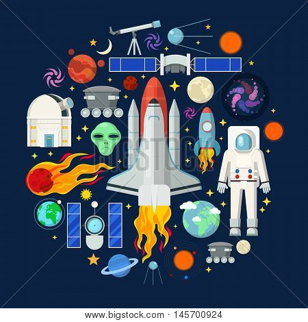 Space Icons Set with Planets Stars Shuttle and Astronaut. Vector illustration