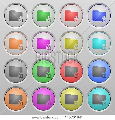 Set of Unlock folder plastic sunk spherical buttons.