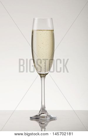 White sparkling wine in a champagne flute.